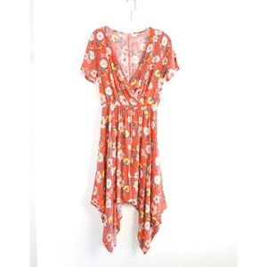 Orange floral boho asymmetric high low novelty M